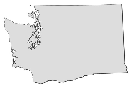 Map of Washington, a state of United States.