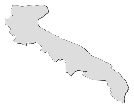 Map of Apulia, a region of Italy.