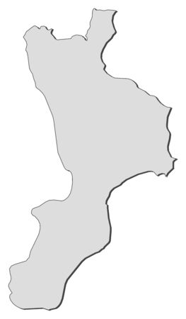 Map of Calabria, a region of Italy.
