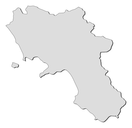 Map of Campania, a region of Italy.