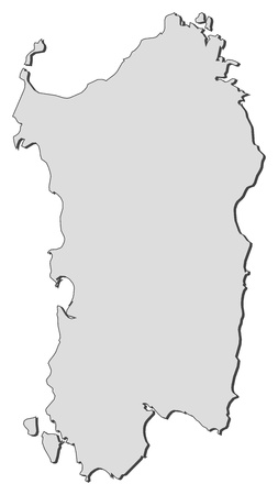 Map of Sardinia, a region of Italy.