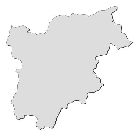 Map of Trentino-Alto Adige Suedtirol, a region of Italy.