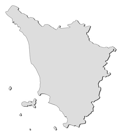 Map of Tuscany, a region of Italy.
