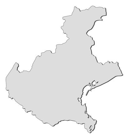 Map of Veneto, a region of Italy.
