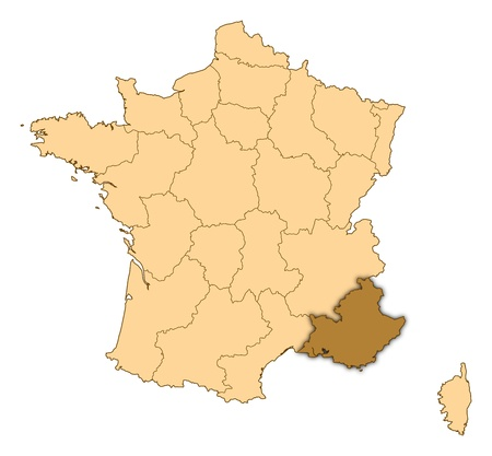 Map of France where Provence-Alpes-Cocircte Azur is highlighted.