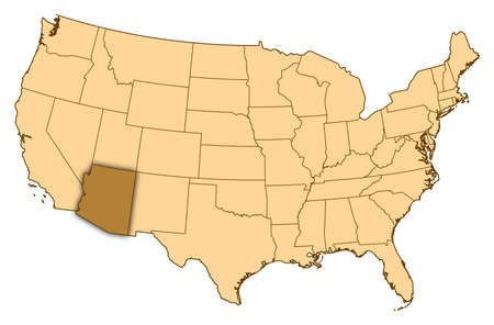 Map of United States where Arizona is highlighted.