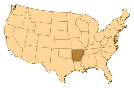 Map of United States where Arkansas is highlighted.