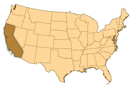 Map of United States where California is highlighted.