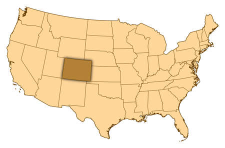 Map of United States where Colorado is highlighted.