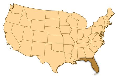 Map of United States where Florida is highlighted.