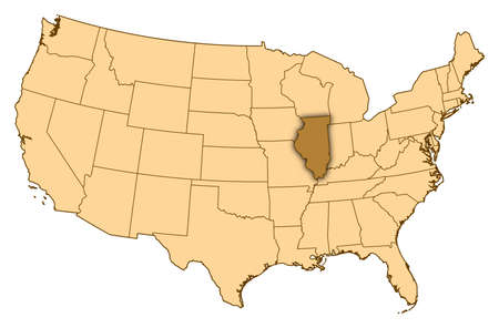 Map of United States where Illinois is highlighted.