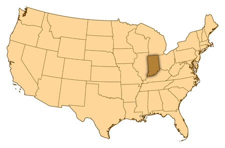 Map of United States where Indiana is highlighted.