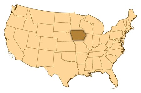 Map of United States where Iowa is highlighted.