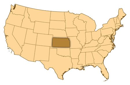 Map of United States where Kansas is highlighted.