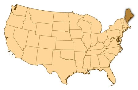 Map of United States where Maine is highlighted.
