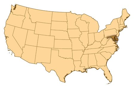 Map of United States where Maryland is highlighted.
