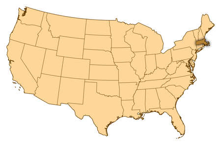 Map of United States where Massachusetts is highlighted.