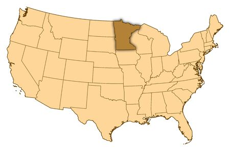 Map of United States where Minnesota is highlighted.