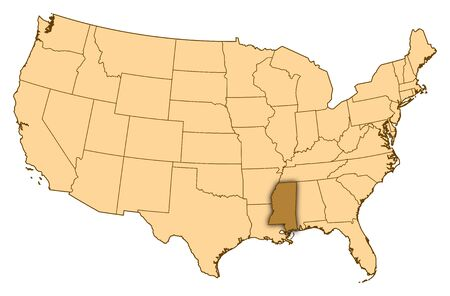 Map of United States where Mississippi is highlighted.