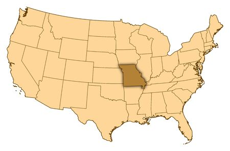 Map of United States where Missouri is highlighted.