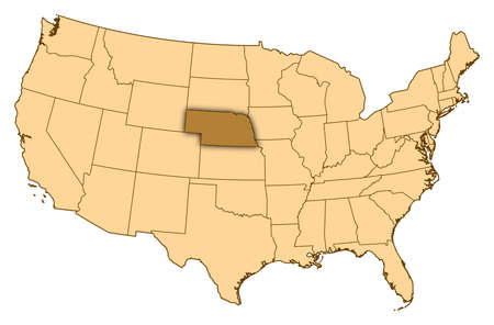 Map of United States where Nebraska is highlighted.