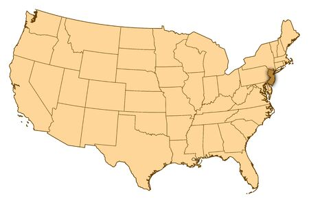 Map of United States where New Jersey is highlighted.