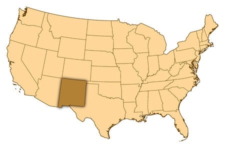 Map of United States where New Mexico is highlighted.