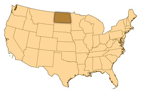 Map of United States where North Dakota is highlighted.