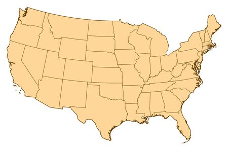 Map of United States where Rhode Island is highlighted.