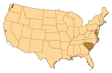 Map of United States where South Carolina is highlighted.