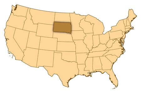 Map of United States where South Dakota is highlighted.