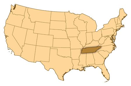 Map of United States where Tennessee is highlighted.