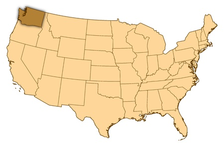 Map of United States where Washington is highlighted.
