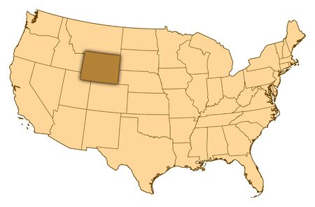 Map of United States where Wyoming is highlighted.