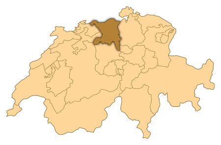 Map of Switzerland where Aargau is highlighted.