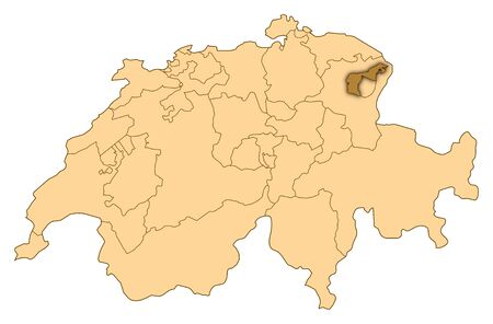 Map of Switzerland where Appenzell Ausserrhoden is highlighted.