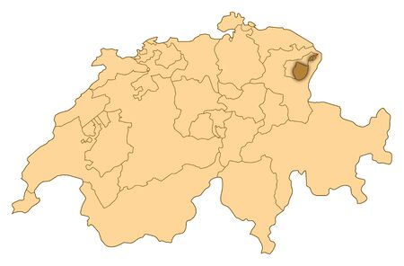 Map of Switzerland where Appenzell Innerrhoden is highlighted.