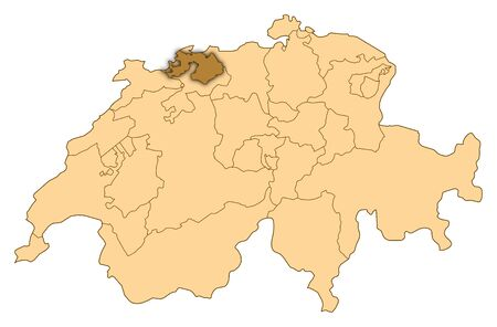 Map of Switzerland where Basel-Landschaft is highlighted.