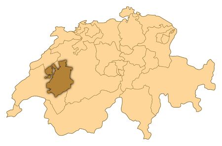Map of Switzerland where Fribourg is highlighted.