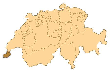 Map of Switzerland where Geneva is highlighted.