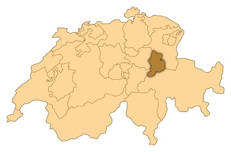 Map of Switzerland where Glarus is highlighted.