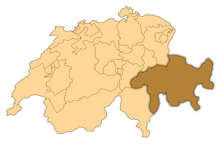 Map of Switzerland where GraubÃŒnden is highlighted.