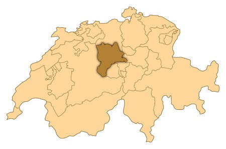 Map of Switzerland where Lucerne is highlighted.