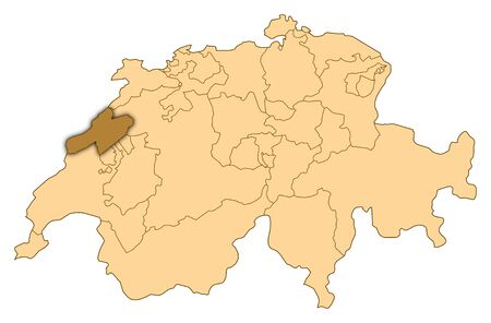 Map of Switzerland where Neuchâtel is highlighted.