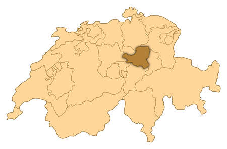 Map of Switzerland where Schwyz is highlighted.
