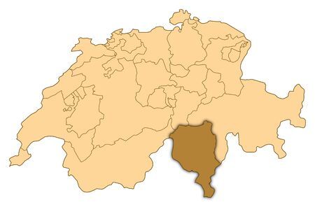 Map of Switzerland where Ticino is highlighted.