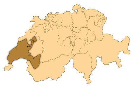 Map of Switzerland where Vaud is highlighted.