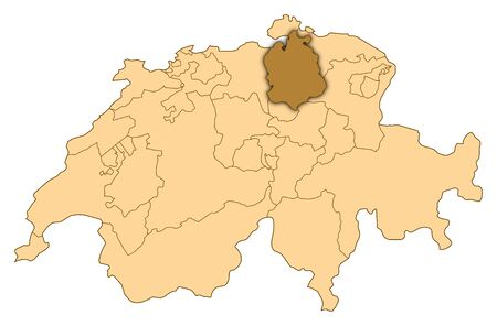 Map of Switzerland where Zurich is highlighted.