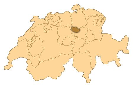 Map of Switzerland where Zug is highlighted.
