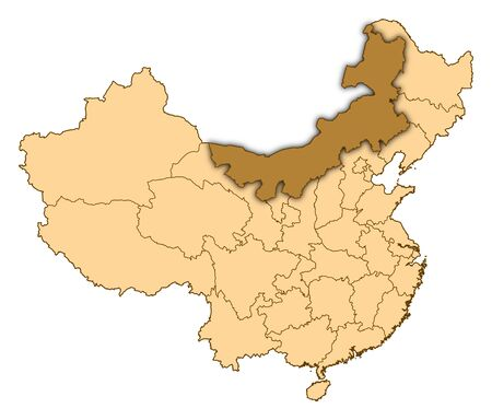 Map of China where Inner Mongolia is highlighted.